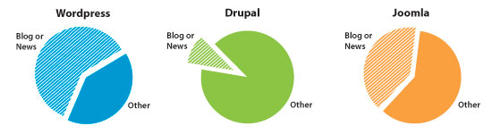 Graph of the percentage of most popular websites on WordPress