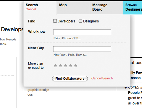 CollabFinder search