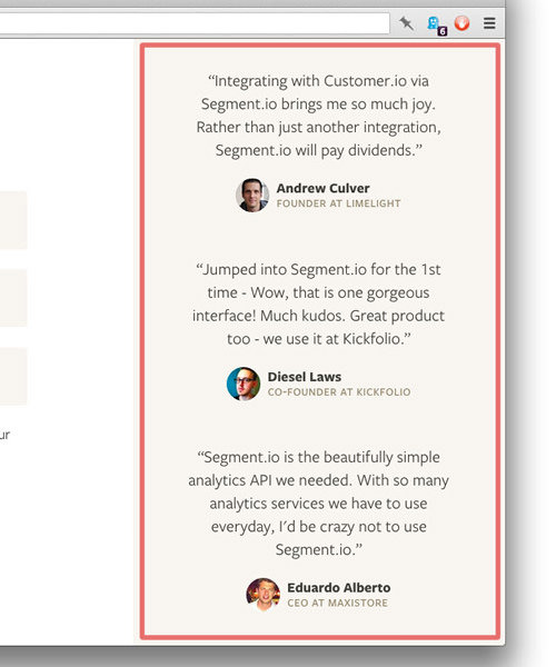 A testimonials component in the sidebar of a web page.