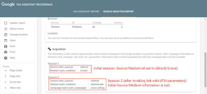 New session uses the source and medium information from the UTM parameters