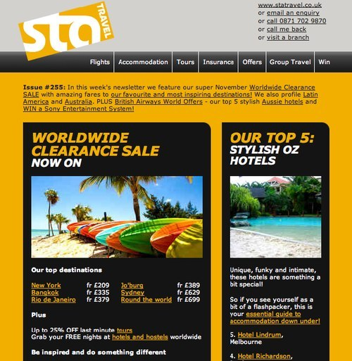 STA Travel newsletter issue 255