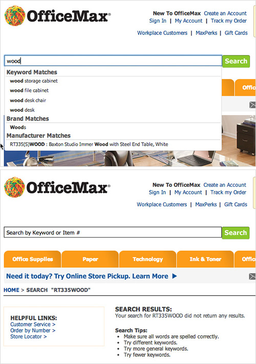 OfficeMax's autocomplete suggest dead-ends