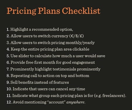 Pricing Plans Design Checklist