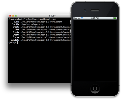 iOS Simulator and terminal when first running RubyMotion