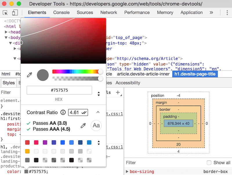 DevTools Contrast Checker