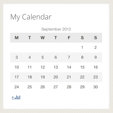 After applying some CSS, the calendar widget can be added anywhere.