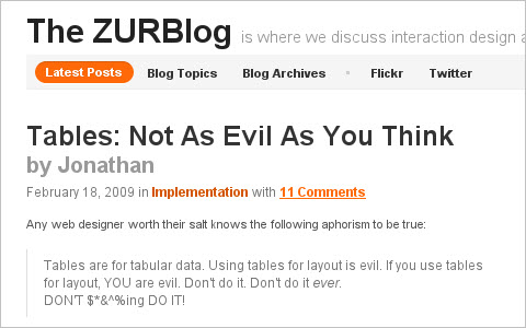 Tables: Not As Evil As You Think