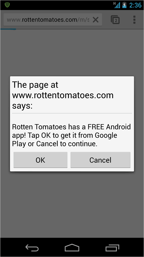 rotten tomatoes app interstitial