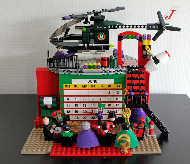 Calendar built of Lego bricks