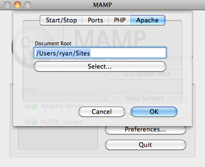 MAMP Apache setup