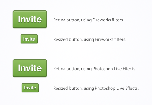 Buttons Built with Different Techniques, Demonstrating the Advantages of Fireworks Filters