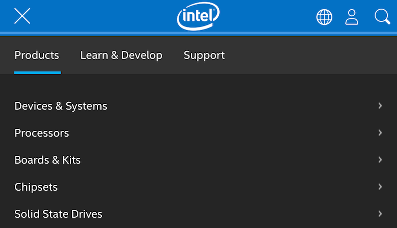 An image of the responsive navigation used on Intel's website.
