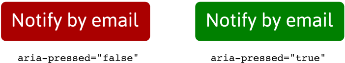 The aria-pressed false button has a red background color and the aria-pressed true button has a green background color