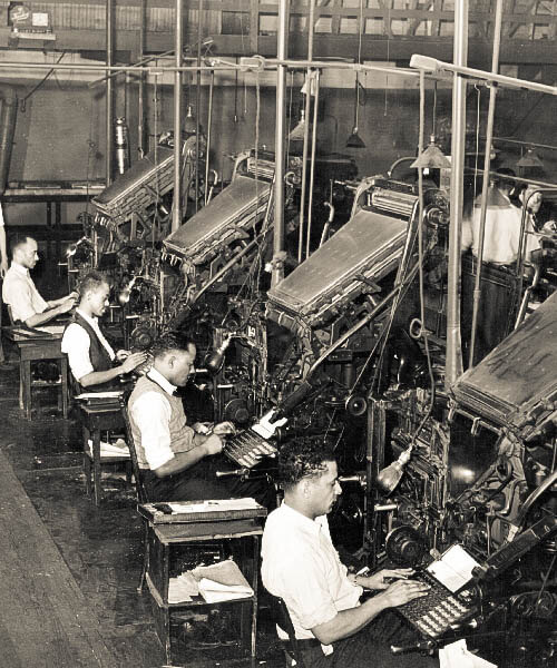 Typesetting on hot lead based Linotype composing machines