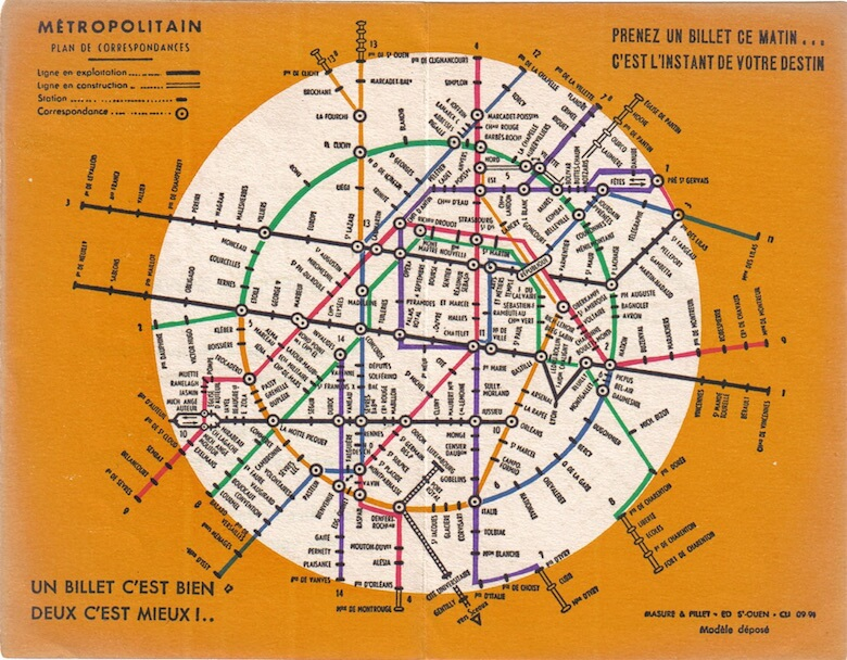 Paris metro map 1936