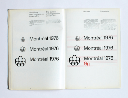 A page from the Montreal Olympics Graphics Manual with standards on using the symbol with the logotype.