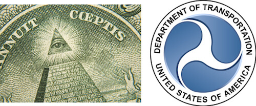 The triangle in the dollar bill and the Department of Transportation's logo