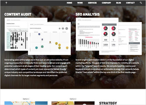 Gravitate prioritizes the process of content audits, seo analysis, and sketches over completed work.