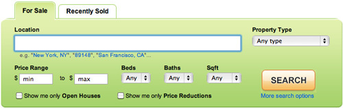 trulia.com parameter search interface