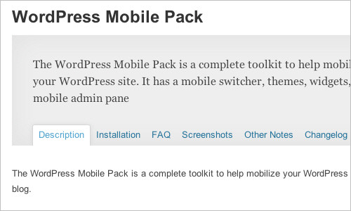 WordPress Mobile Pack