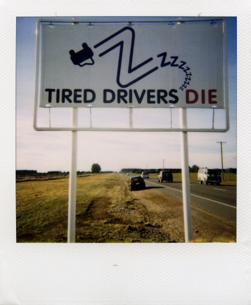 Wayfinding and Typographic Signs - tired-drivers-die