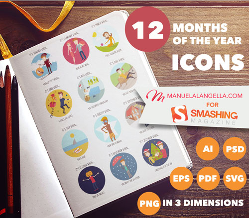 12 Months Of The Year Icons