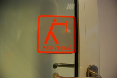 Wayfinding and Typographic Signs - push-to-go-on