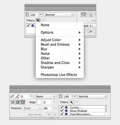 Working with live filters in the Properties panel.