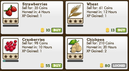 Different crops mature at different rates in Farmville