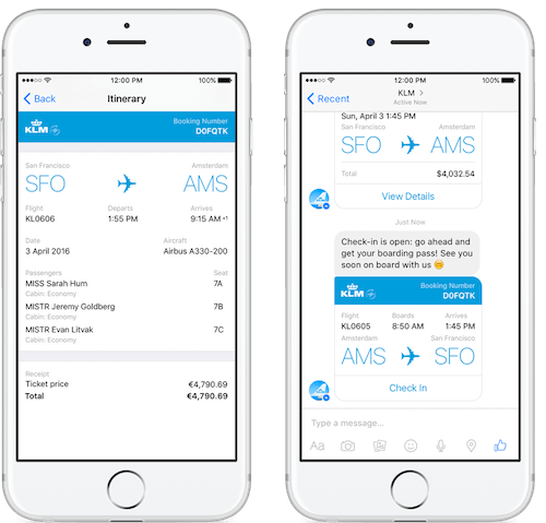 KLM flight information in Facebook Messenger