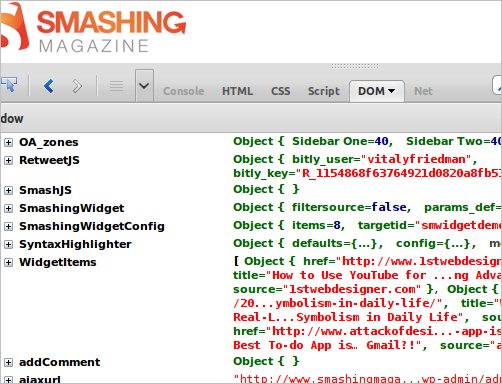 Smashing Magazine Site DOM