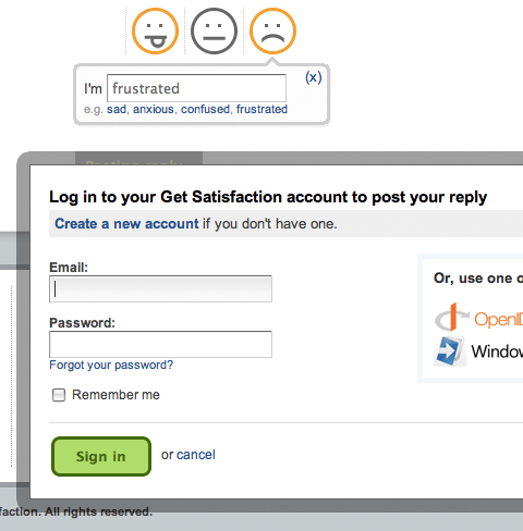 GetSatisfaction login