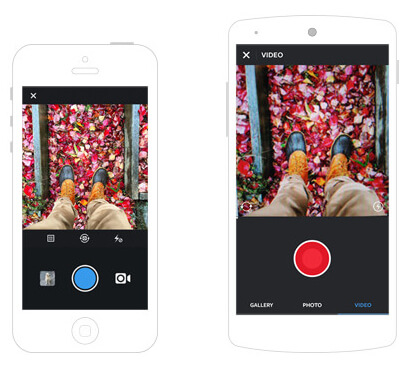 Instagram video interface on iOS (left) and Android