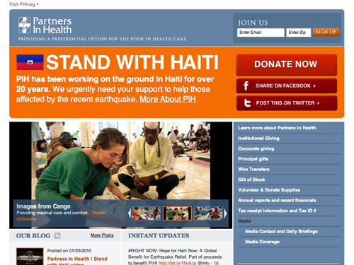Stand With Haiti website home page