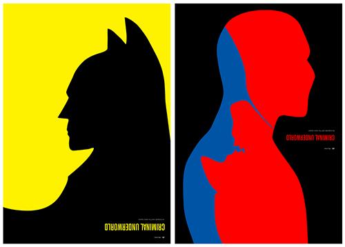 Criminal Underworld posters of Batman versus Penguin and Spiderman versus Green Goblin