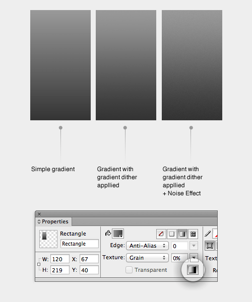 The dithering option in Fireworks CS5+, and three examples of gradients with and without the option selected.