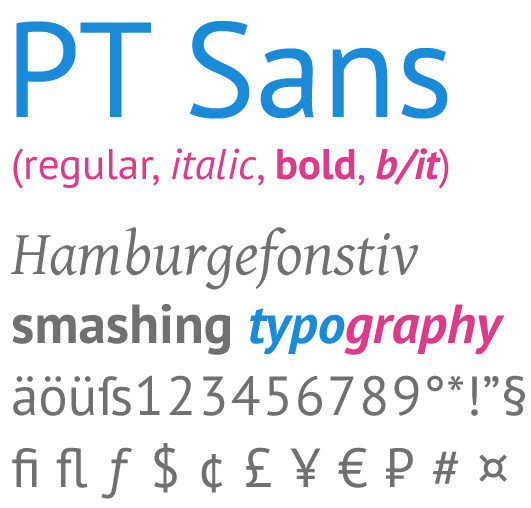 Beautiful Free Fonts - PT Sans