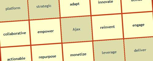 A screenshot of a Buzzword Bingo board