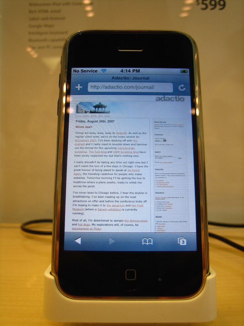 A web page on the screen of a mobile phone.
