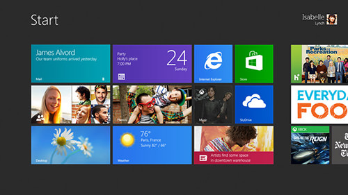 Windows 8 live tiles on the start screen