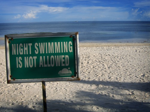 Wayfinding and Typographic Signs - no-night-swimming