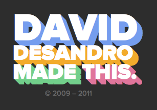 Extruded text effect on David DeSandro's site