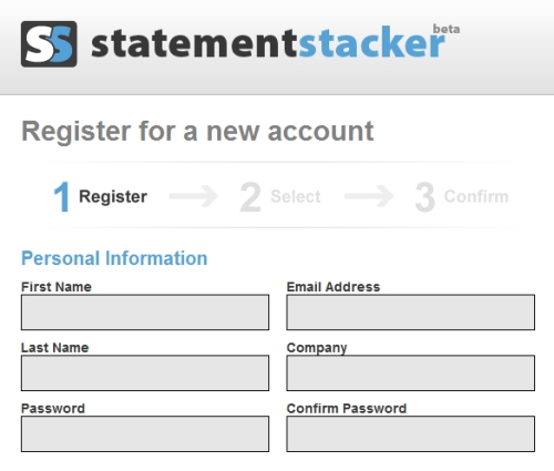 StatementStacker sign-up process