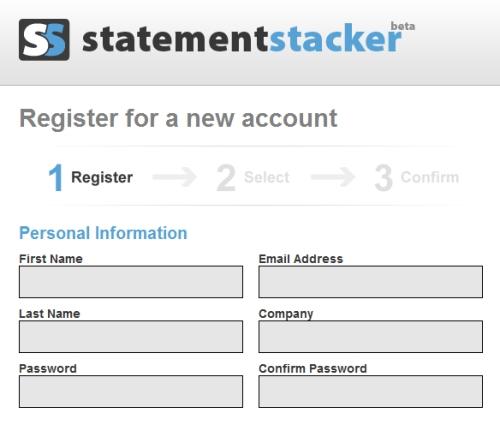 StatementStacker sign-up process