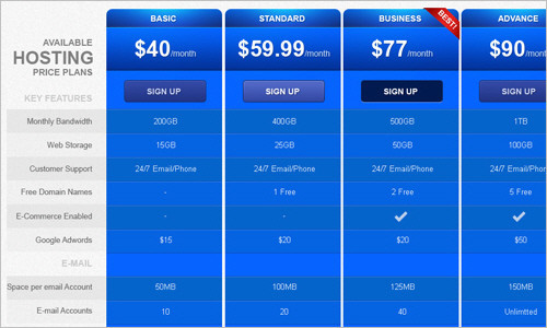 Friday's Freebie: Pricing Table Template