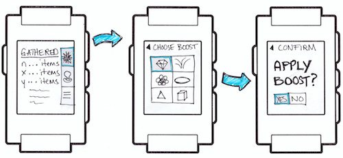 Figure 4: A low-fidelity game workflow for the Pebble smartwatch.