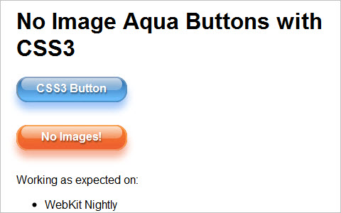 CSS3 Gradients: No Image Aqua Button