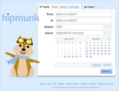 Hipmunk's cheery personality and focus on one task are the perfect remedy for the stressed-out emotional state of so many users of travel-booking services.