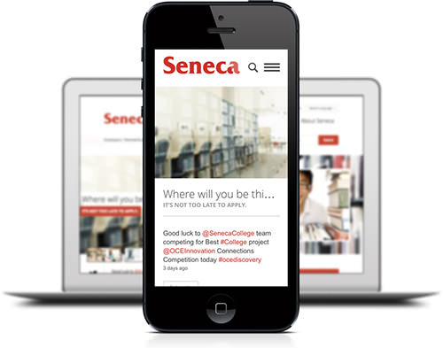 Seneca website on mobile