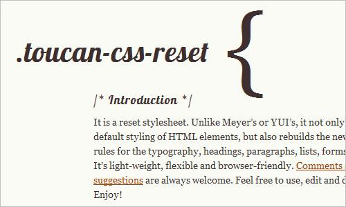 CSS reset, CSS framework, Toucan CSS reset
